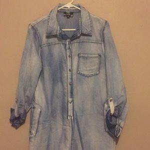 Washed denim shirt dress